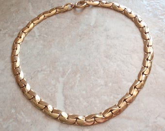 Brass Chain Necklace Choker Thumbless Clasp 15 Inch Antique Vintage 121214RC