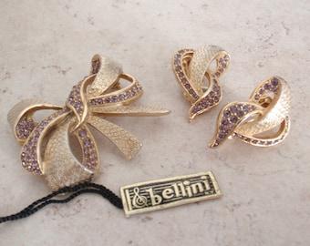 Bow Earring Brooch Set Bellini Lavender Rhinestones Gold Tone Vintage 110416RC