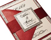 Red Love Story Wedding Invitation Set - Romantic Invitation, Burgundy, Marsala, Burgundy Invitation, Elegant Wedding Set, Custom Invitation