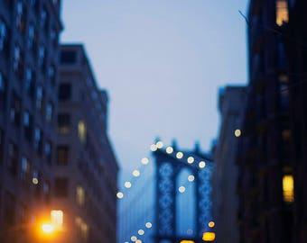 Manhattan Bridge at Night - Fine Art Photograph, New York, Travel, NYC, Wall Art