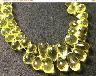 ON SALE 55% Lemon Quartz Teardrop Beads, Faceted Lemon Quartz Drop Briolettes, 5x7mm - 7x15mm, 7 Inch, 50 Pcs - VCA5