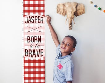 """Custom/ Personalized Red Plaid """"Born to be Brave"""" canvas growth chart - perfect for boy or gender neutral nursery decor or baby shower gift"""