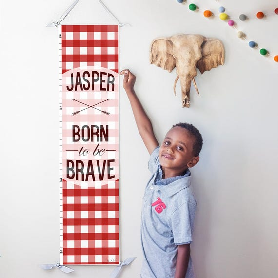 "Personalized Red Plaid ""Born to be Brave"" canvas growth chart"