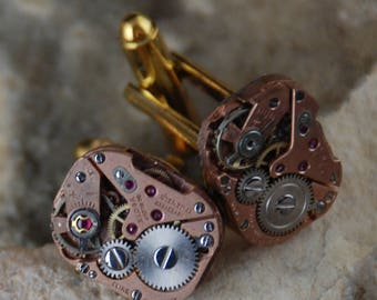 Beautiful Pair of Pink Square Jeweled Steampunk Watch Movement Cuff links CL 64