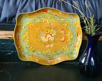 """Vintage Painted Tray Made in Japan Floral Motif Alcohol Proof 12"""" Wide Vibrant Colors Tole Painting"""