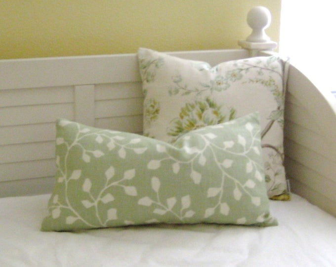 Kravet Woodlawn in Celadon Linen Designer Lumbar Pillow Cover, Designer Fabric, 12x20 Pillow Cover, 14x24 Pillow Cover
