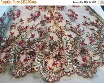 ON SALE Stunning Gold Green and Burgundy Metallic Embroidered and Beaded French Chantilly Lace Fabric--One Yard