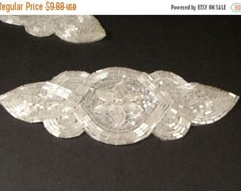 ON SALE White Beaded Applique--One Piece