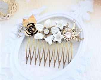 Bridal Hair Comb, Ivory Pearl Comb, Rhinestone Hair Comb, Floral Hair Comb, Assemblage Hair Jewelry, Collage Hair Comb, Swarovski Crystal