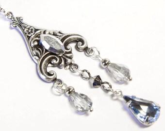 Victorian chandelier earrings, silver chandelier, silver filigree, victorian jewellery, art nouveau earrings, sliver blue crystal jewelry