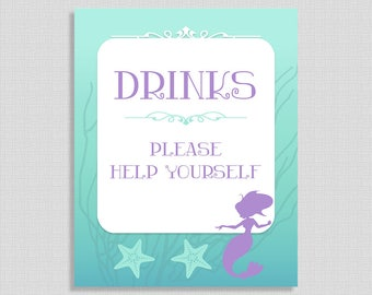 Mermaid Drinks Baby Shower Sign, Drink Table Sign, Aqua and Purple Shower Sign, Baby Girl, 2 Sizes, DIY Printable, INSTANT DOWNLOAD