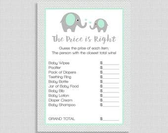 Mint Price is Right Game, Mint Elephant Baby Shower Game, Grey Chevron, Gender Neutral, DIY Printable, INSTANT DOWNLOAD