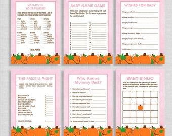 Fall Baby Shower Games Package, Six Baby Girl Shower Games Bundle, Pink Pumpkins, DIY Printable, INSTANT DOWNLOAD