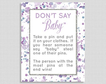 Lavender Don't Say Baby Shower Game Sign, Lavender Splash Baby Shower Game, Diaper Pin Game, Purple, Neutral, INSTANT PRINTABLE