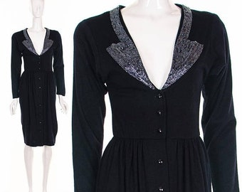 MOVING SALE Vintage 50's Black Beaded Dress Plunging Neckline Black Wool Knit Dress Low Back Vixen Wiggle Dress Button Up Bombshell Retro Pi