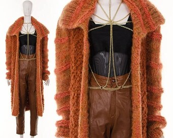 MOVING SALE 70's RARE Orange Cardigan Duster Coat Long Duster Chunky Knit Sweater Jumper Oversize Angora Sweater One Size