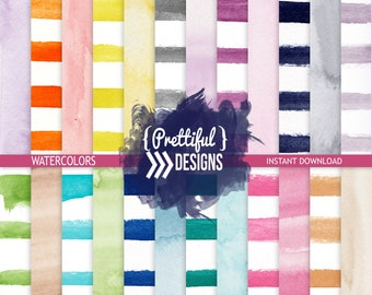 Watercolor Stripes and Solids Digital Papers, Hand Painted Digital Scrapbook Paper