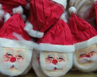 Vintage Christmas Paper Santa Claus Head, U Get 5, Made in Japan, Christmas in July,