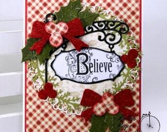 Believe Christmas Greeting Card Polly's Paper Studio Handmade