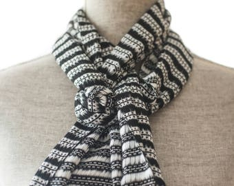 Black and White Summer Scarf, Rayon