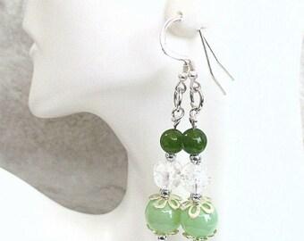 Green Beaded Earrings, Sterling Silver Earrings, Crystal Glass Earrings, Mint Green Jewelry, Jade Green Earrings, St. Patrick's Day 2-1/2in
