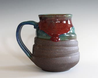 Pottery Mug, 17 oz, handmade ceramic cup, handthrown mug, stoneware mug, pottery mug, unique coffee mug, ceramics and pottery