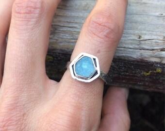 Aquamarine Slice & Sterling Silver Ring - Aquamarine Ring - Aquamarine Crystal Ring - Hexagon Ring