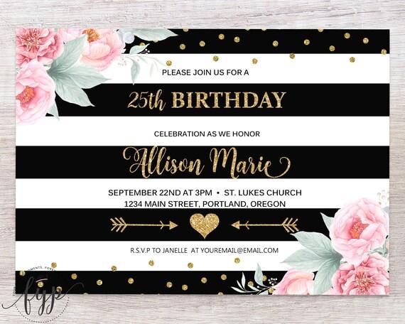 Printable 25th Birthday Invitation 25th Birthday Invite 25th