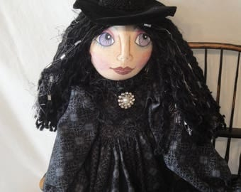 Gothic Halloween witch art doll, Black witch art doll, hand made witch cloth doll, Halloween collectible witch, spooky witch doll, horror