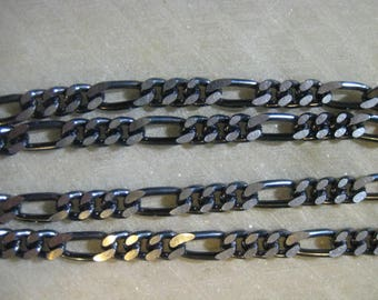 Gunmetal Figaro Chain, Vintage 1970s Mother and Son, Designer Quality Unused Old Stock, Silver Gray Anodized Aluminum, 10 Feet