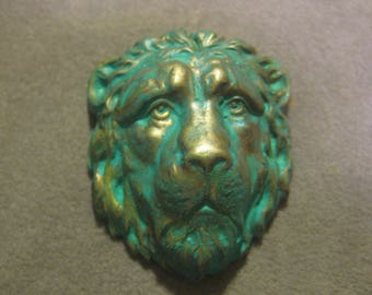 Lion Head; Verdigris Green Patina Stamped Brass, Embellishment, Component, Decoration, Trim, 33mm by 27mm, 1 Pc.