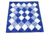 Primitive Quilted Table Topper, Snowman Quilted Table Runner, Blue Christmas Table Quilt, Blue Quilted Candle Mat, Primitive Decor, Snowmen