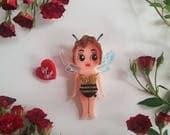 Miss Bee Mine Kewpie Babe Wearble Art Brooch by Winnifreds Daughter