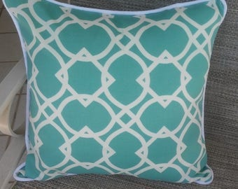 Outdoor Accent Pillow Cover, Richloom Fabric, Aqua and White, Pool, Lanai, Swing, Hammock, Anywhere........