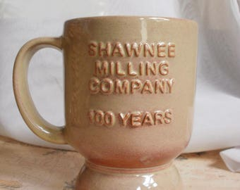 "Shawnee Milling Company Commemorative Mug  "" 100 Years Since 1906 "" Frankoma Coffee Mug Advertising Pottery Cup Anniversary Collectible"