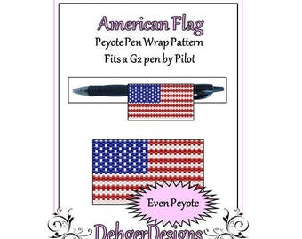 Peyote Beading Pattern (Pen Wrap/Cover)-American Flag