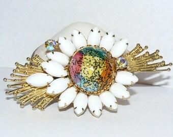 Art Glass Brooch White Rhinestones