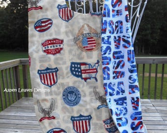 Men's Adult Bib with USA, and Veterans metals.  Elder and disabled persons bibs, Chemo bib