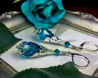 Peacock Aqua Blue Silver Victorian Earrings, Teal Blue Green Edwardian Bridal Drops, Antiqued Silver Filigree, Titanic Temptations Jewelry