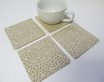 Set Of 4 Fabric Coasters/Beige Flower