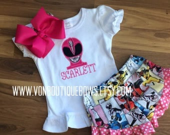 Pink power ranger Matching Boutique Bow Personalized birthday bow newborn 3 6 9 12 18 months 2T 3T 4 5 6 8 10 girls Applique short sets