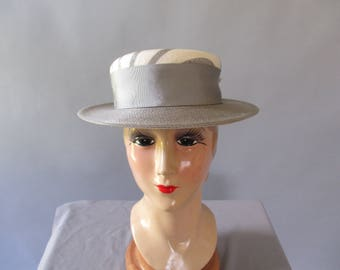 Kentucky Derby Hat, Frank Olive Hat, Vintage Straw Hat, Boater Style Hat, Size 22, Tea Party, Church,Wedding Hat, Fashion Hat