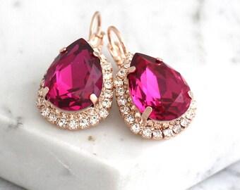 Pink Earrings, Fuchsia Earrings, Bridal Pink Earrings, Swarovski Crystal Earrings, Fuchsia Bridesmaids Earrings, Dark Pink Drop Earrings