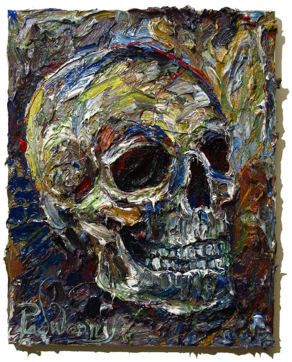Oil Paint on Stretched Canvas of 16 by 20 by 3/4 in. / Original oil painting impressionist outsider skull portrait vintage art realism