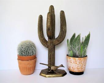 Mid century brass cactus/large brass sculpture saguaro cactus with roadrunner