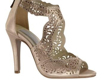 Wedding Shoes - Womens Nude Wedding Shoes, Bridal Shoes, Wedding Peep Toe Heels, Women's Bridal Shoes