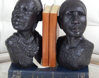 Vintage Ethnic- Figural Heavy Bookends-African Statue-Female-Male-Tribal Bookends-Intricate -Carved-Black Colored