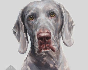 Weimaraner Dog Painting Print -  Ltd ed. Signed  dog print - weimaraner gift