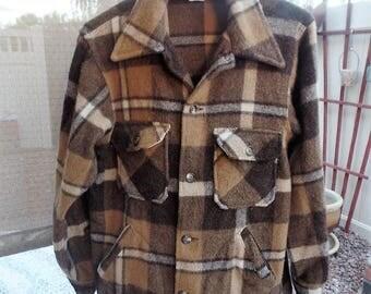 Vintage Mens Woolrich Brown Plaid Wool Jacket Coat Size Medium