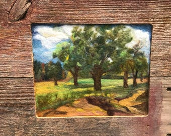 "Needle Felted Handmade Painting, Picture, Oaks in Field Antique Reclaimed Barnwood Frame  24 1/2"" x 14 1/2"""